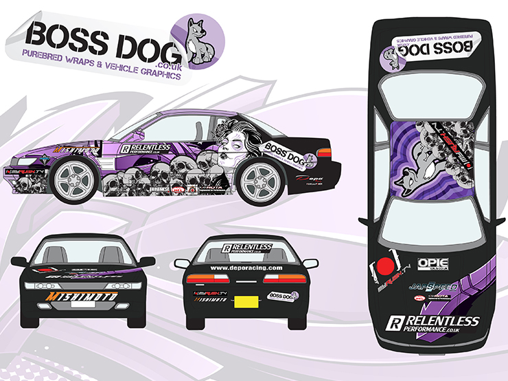 Japanese Performance Magazine Drift Car Boss Dog Vinyl Wraps