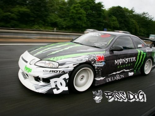 Toyota soarer drift car buttsy butler wrapped in monster energy printed graphics