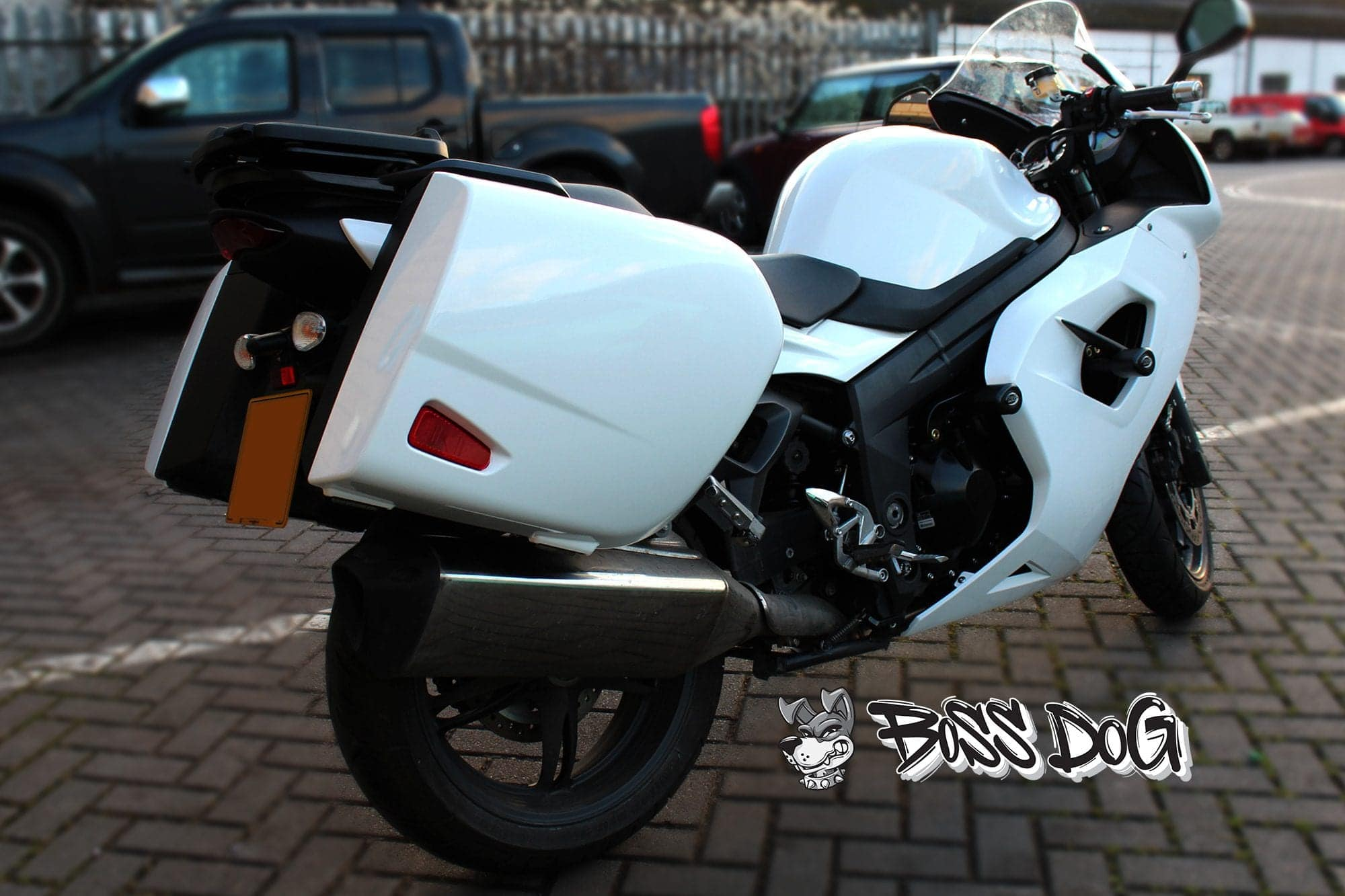 Honda VFR motorbike wrapped in gloss white