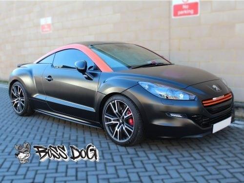 Peugeot RCZ wrapped in Satin Black Gloss Orange details