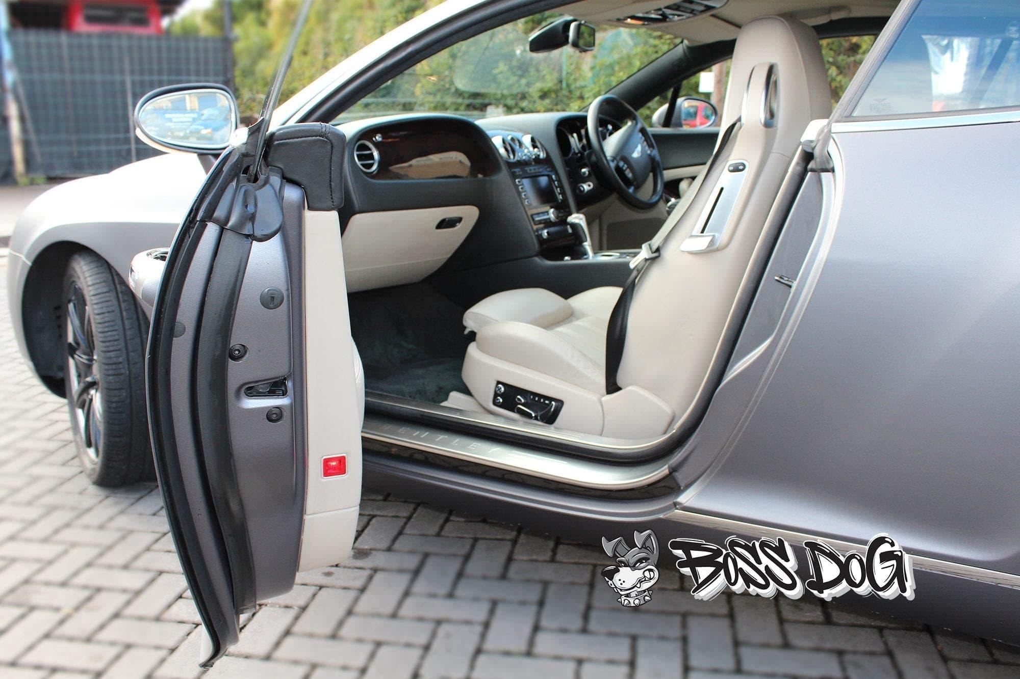 Bentley Continental door returns wrapped in matt metallic charcoal