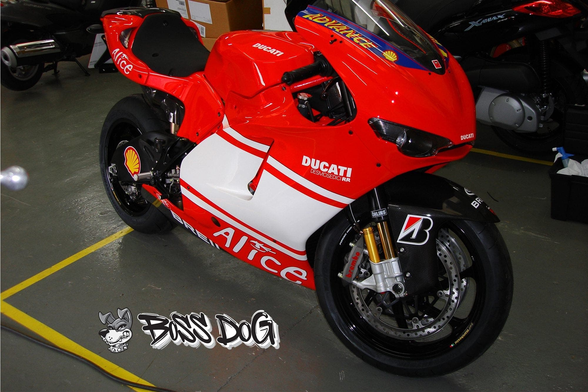 Ducati motorbike wrapped in gloss red and white