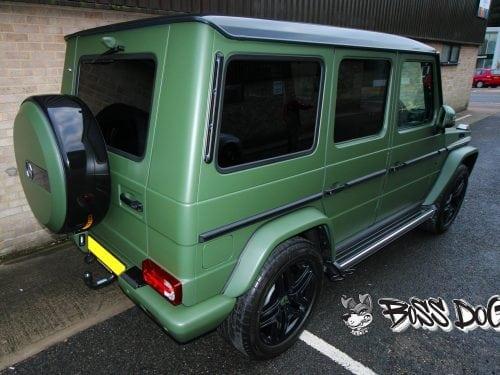 Mercedes G Wagon wrapped in matt military green