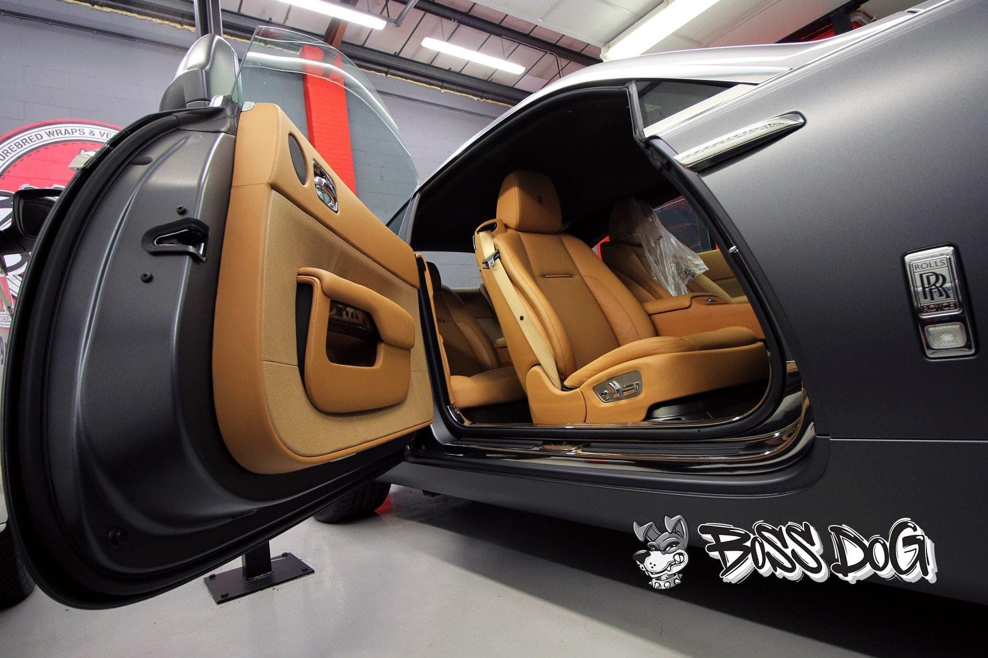 Rolls Royce Wraith door shuts and door returns wrapped in exclusive matt metallic charcoal