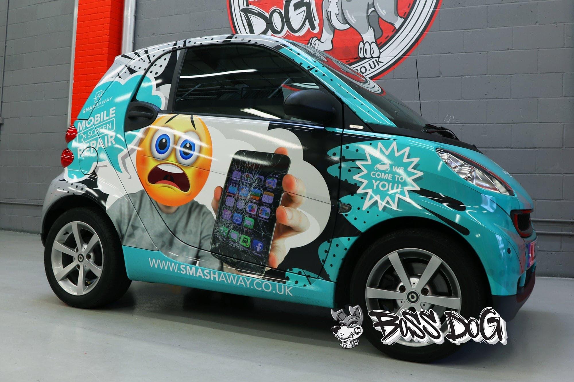 Smart car smash away full wrap digital print