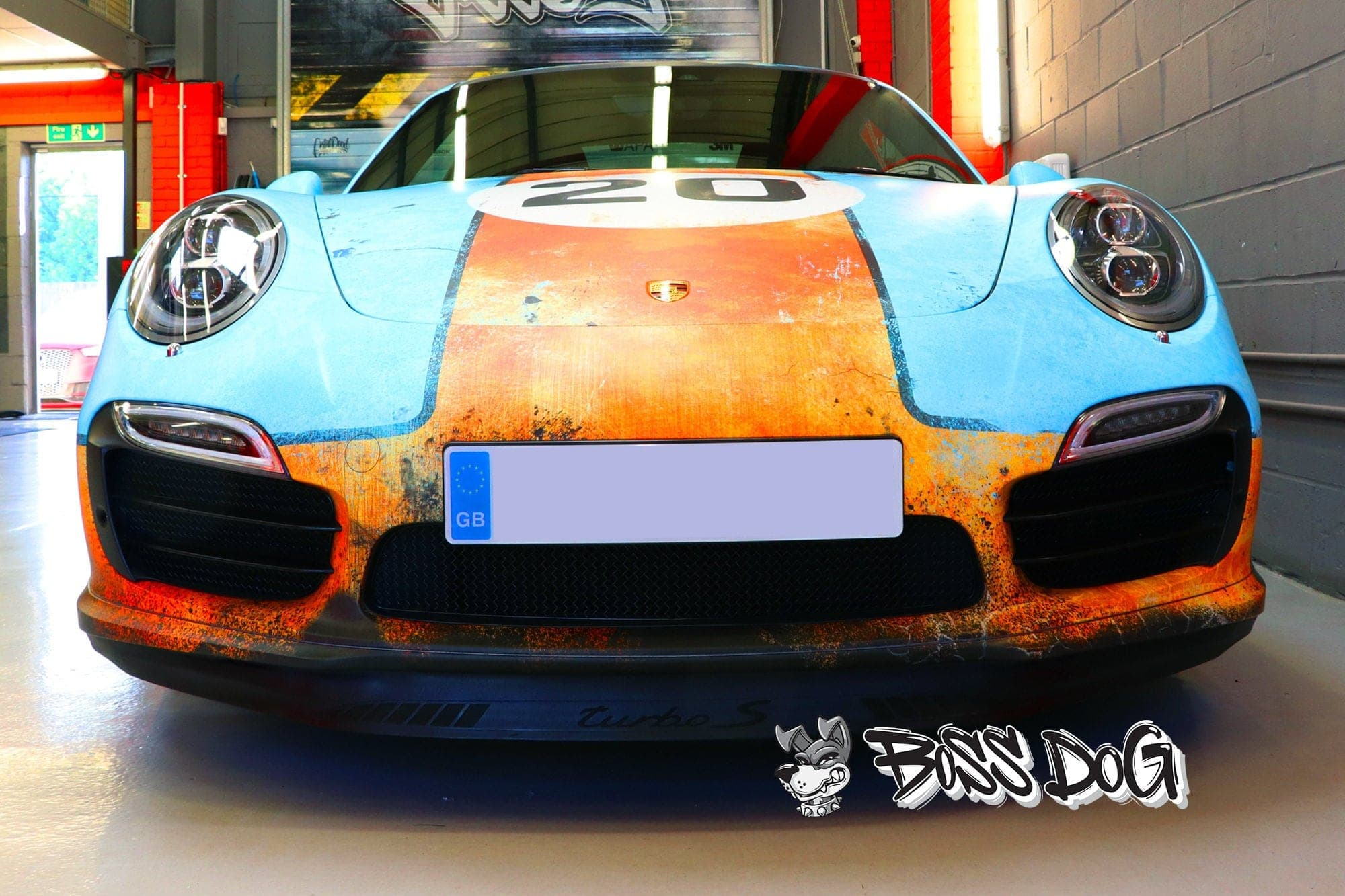 porsche gulf custom printed rust wrap