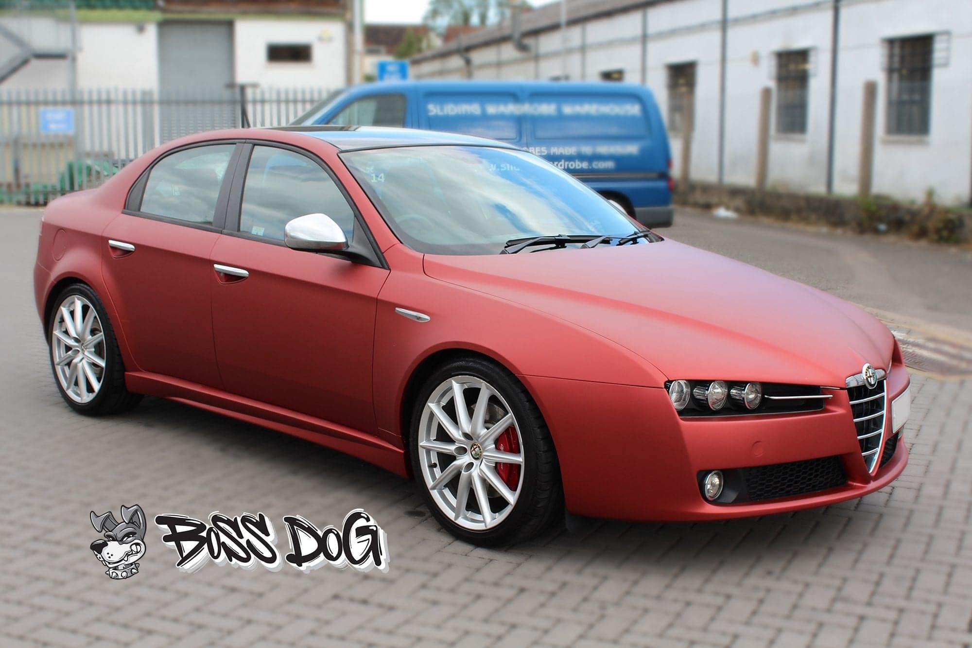Alfa Romeo 159 wrapped in matt red metallic