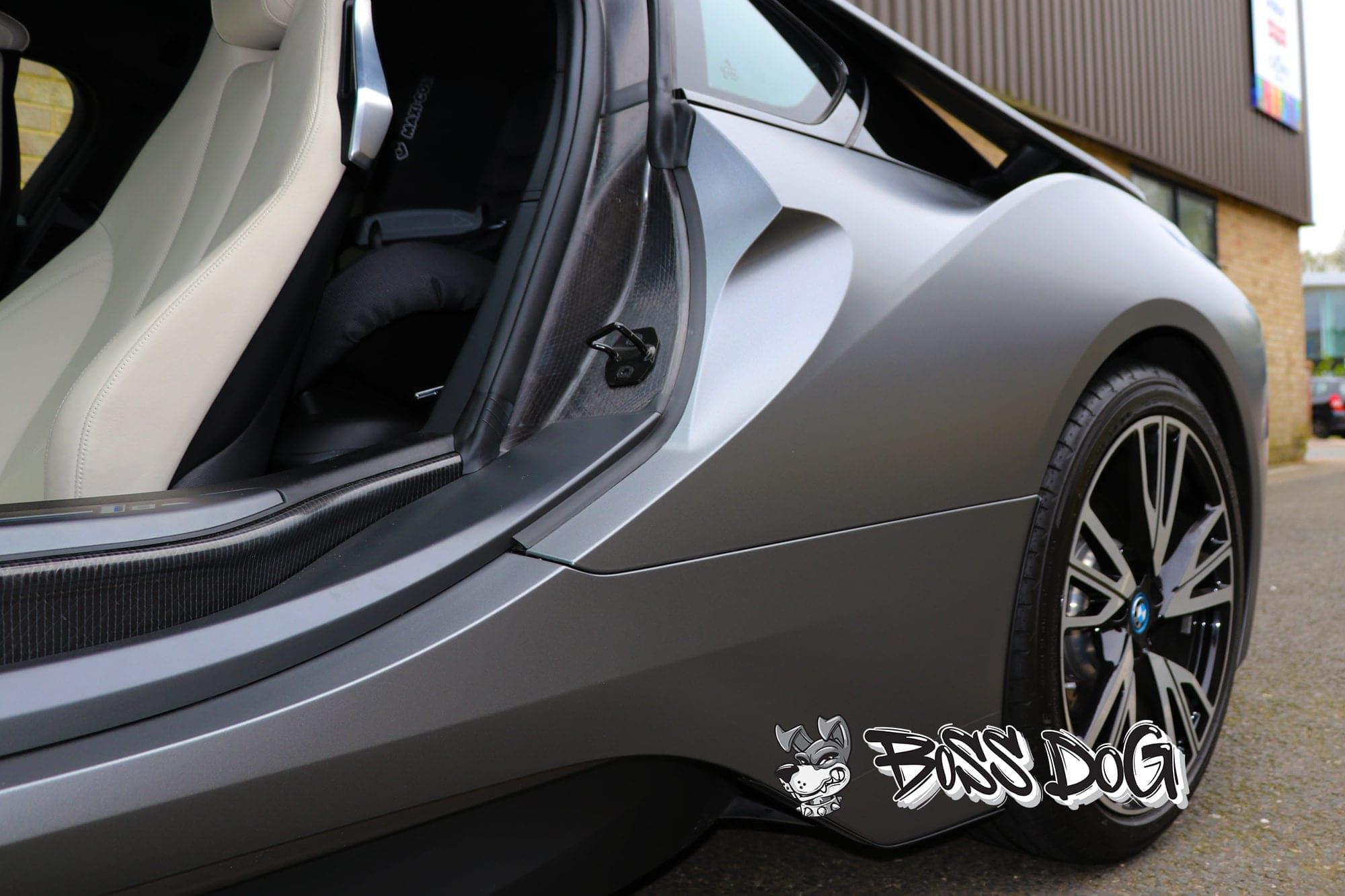 bmw i8 full car wrap matt metalic grey