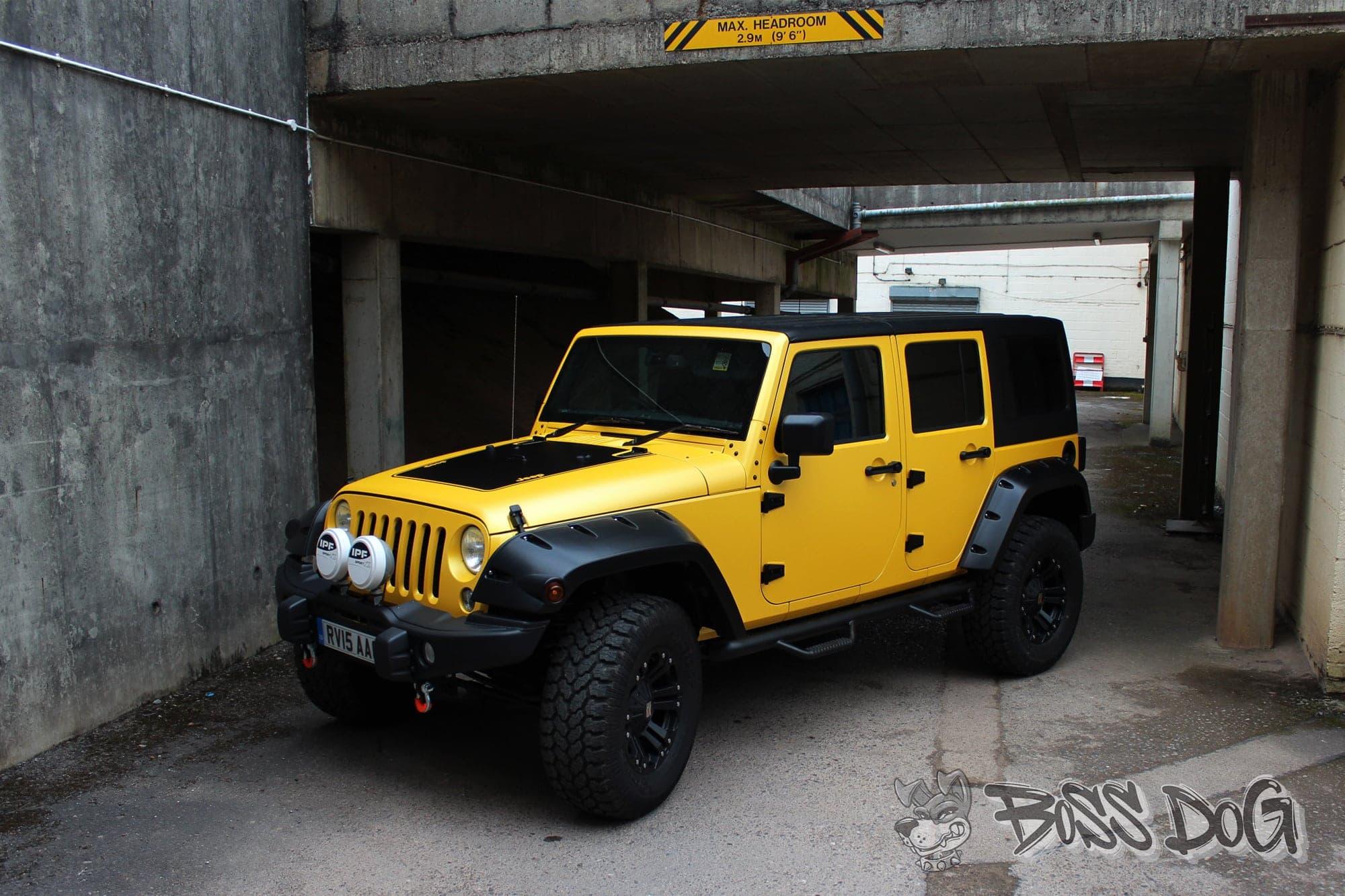 Jeep-Wrangler-Matt-sunflower - Boss Dog