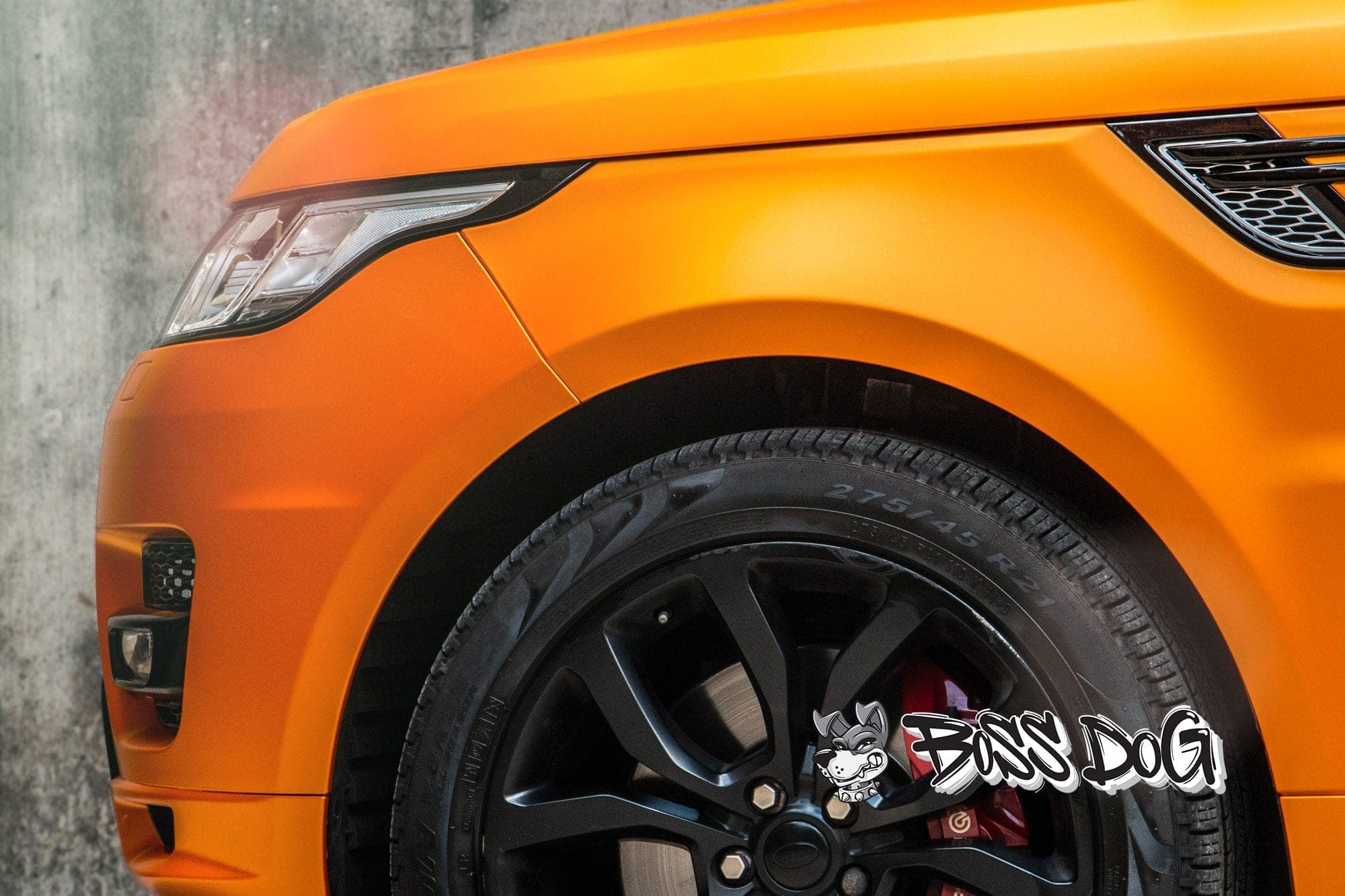 Range rover sport wrapped in matt metallic orange